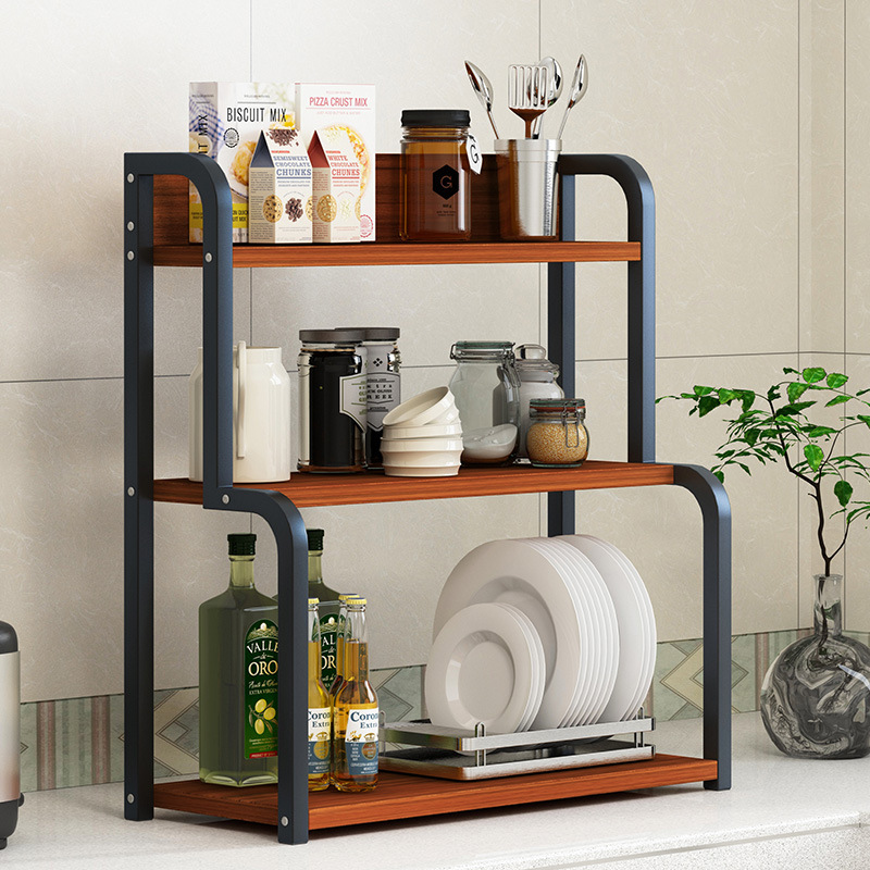 Man Patriarch Desktop Kitchen Shelves Floor Multilayer Storage Shelf Microwave Oven Storage Rack Province Space