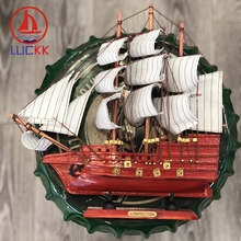 LUCKK 33CM Classic Chinese Red Wooden SailBoat Model Wood Crafts Nautical Souvenir Retro Figurine Furniture Decor Christmas Gift