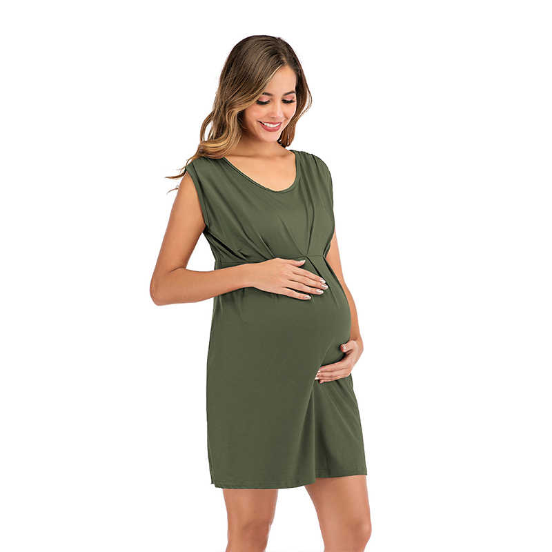 פשוט קוקטייל שמלות אונליין צווארון V שרוולים Ruched בהריון נשים קומפי הריון קצר המפלגה שמלות Vestido פיאסטה קורטו