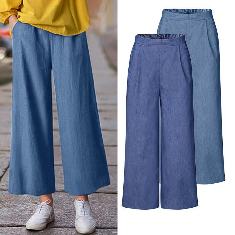 ZANZEA 2020 Summer Vintage Wide Leg Trousers Women High Waist Loose Pockets Causal Pants Pantalon Palazzo Femme Bottoms Oversize