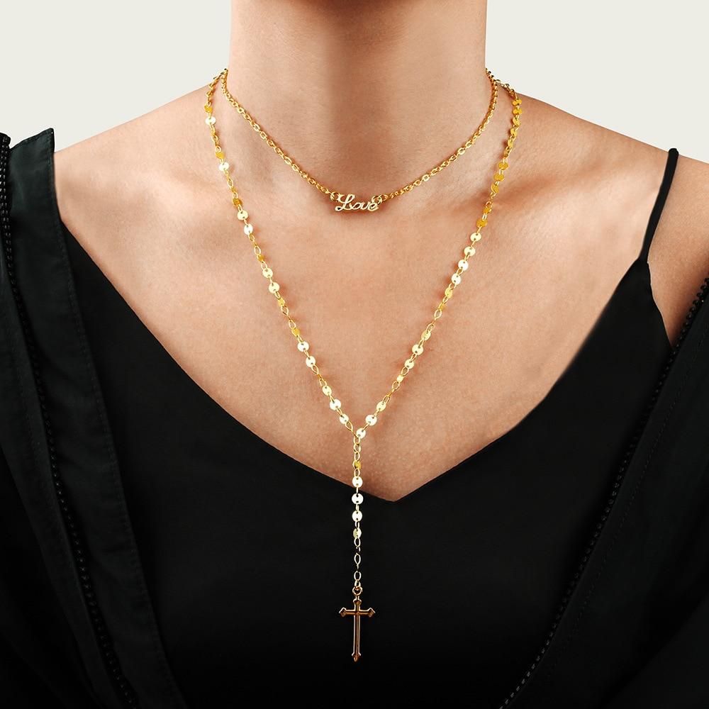 Multilayer Cross Virgin Mary Pendant Beads Chain Christian Neckalce Goddess Catholic Choker Necklace Collier For Women Jewelry