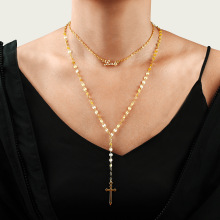 Multilayer Cross Virgin Mary Pendant Beads Chain Christian Neckalce Goddess Catholic Choker Necklace Collier For Women Jewelry