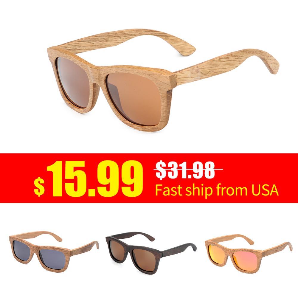 Rápido dos Eua Óculos de Sol de Bambu Óculos de Sol de Madeira Navio Bobo Pássaro Feminino Polarizados