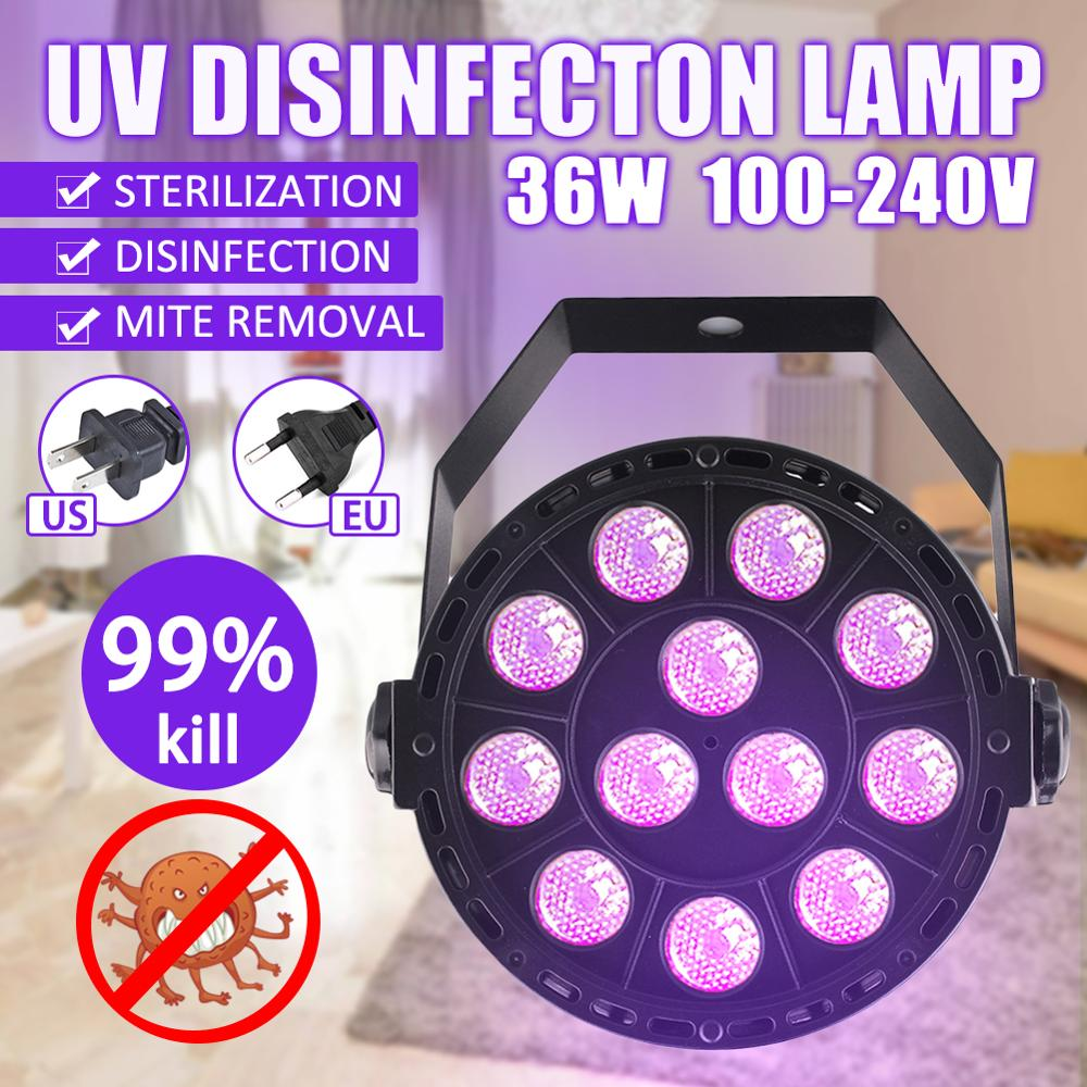 36W Disinfection UV Lamp LED Ultraviolet Sterilization Virus Mite Germicidal Bacterial Disinfect Lights For Home Car