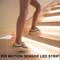 Tira de luces LED de noche con Sensor de movimiento, cinta de lámpara inalámbrica para armario, escaleras, PIR, USB, 2835 SMD