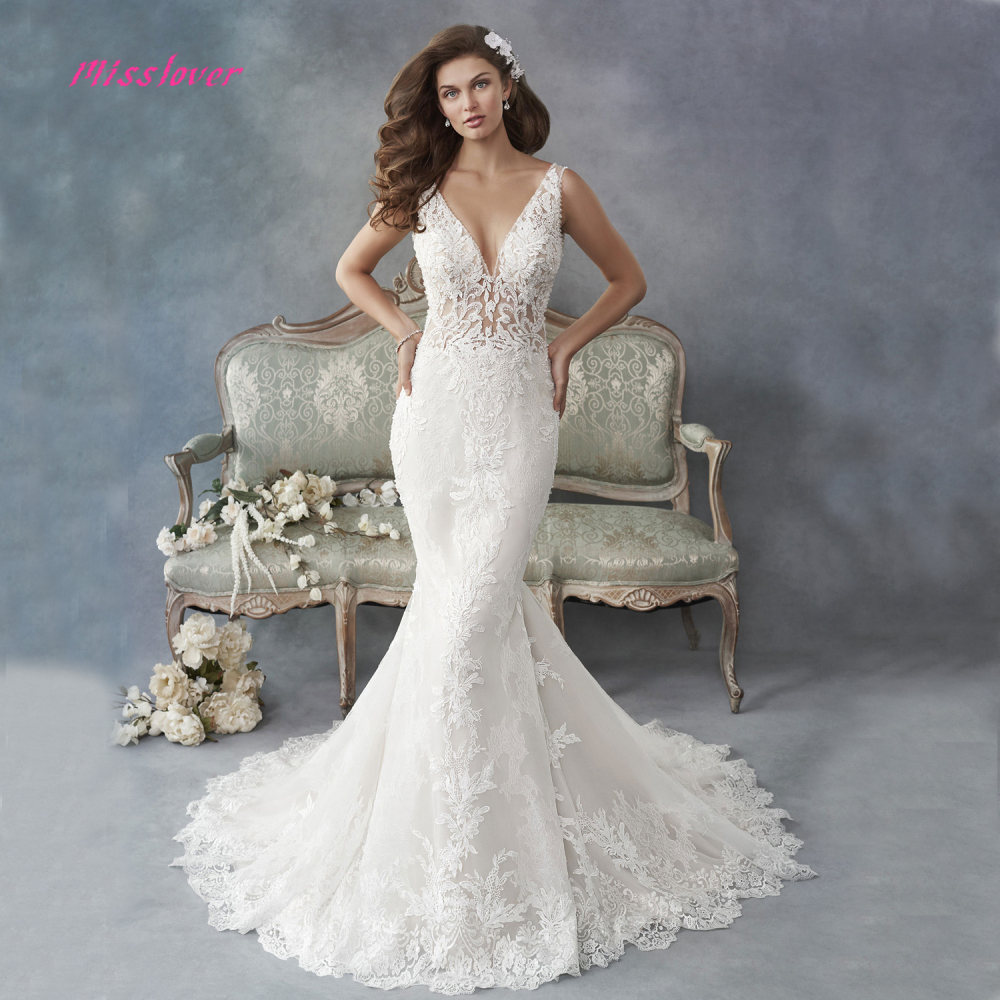 Luxury Crystal And Pearls Vestido De Noiva Lace Mermaid Bride Wedding Dress V-neck Backless 2019 New Bridal Gown Court Train