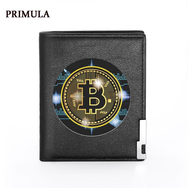 2021 New Fashion Bitcoin Printing Black Pu Leather Wallet Men Bifold Credit Card Holder Short Purse Male 1