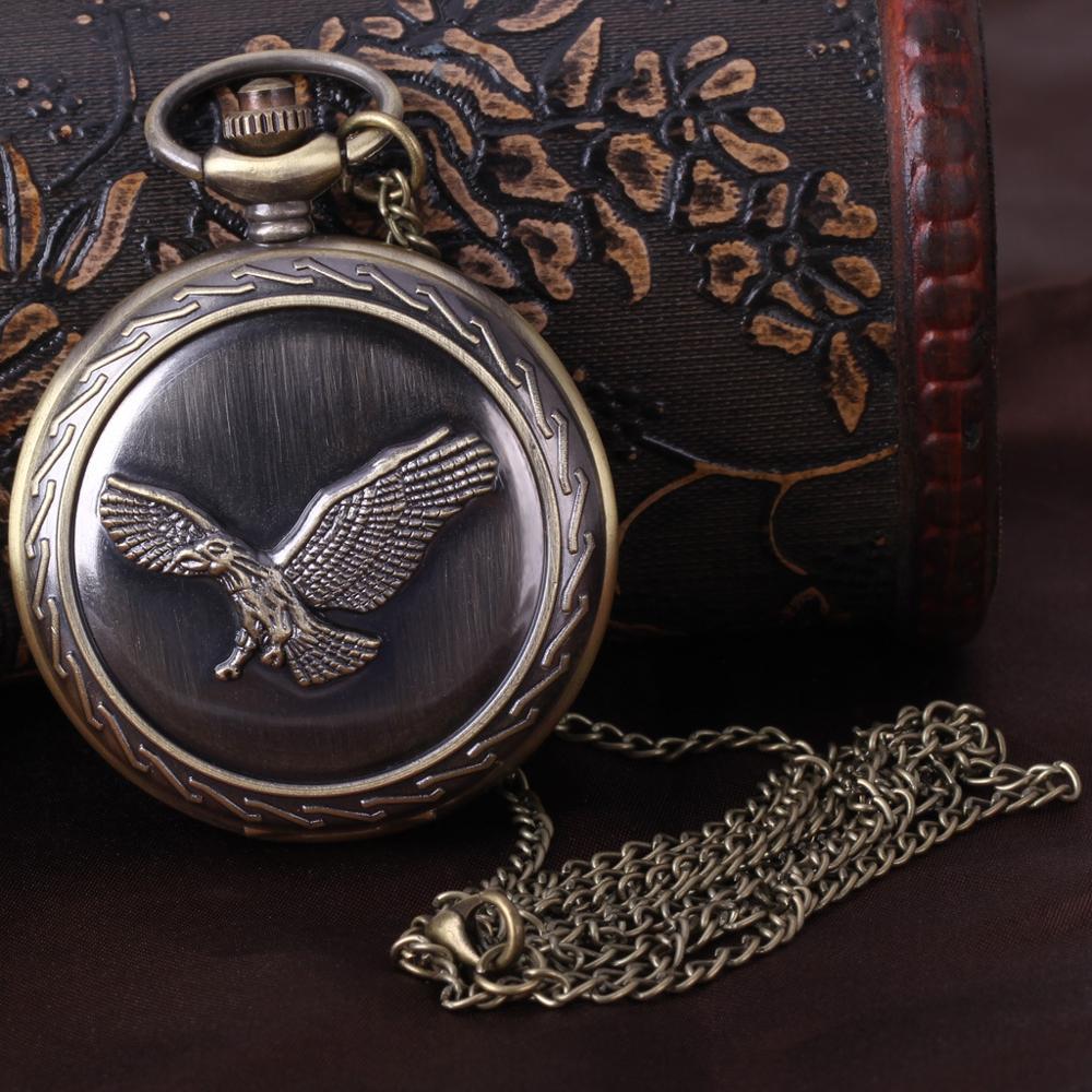 Quartz Pocket Watch Retro Nostalgia Large Eagle Pocket Watch Flying Eagle General Carved Pocket Watch Men With Necklaces Gifts