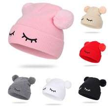 Winter Soft Baby Hat Double Pompom Knitted Cotton Solid Caps For Babies Boys Girls Hats Cute Lovely Beanie Infant Cap Gifts