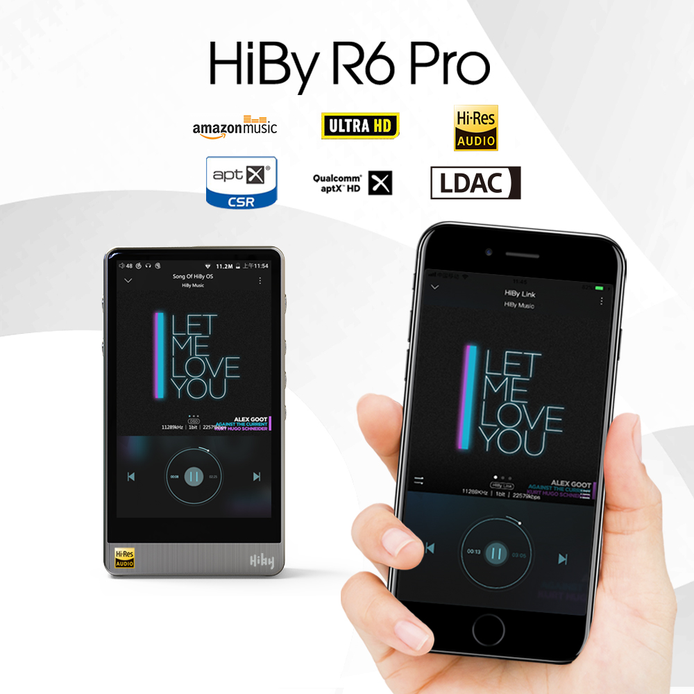 HiBy R6 Pro Lossless Music Player High Resolution Digital Audio Hi-Fi Bluetooth MP3 Player Amazon Music Ultra HD Stainless Steel