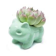 DIY Mini Ceramic Flower pot desktop Succulent Plants ornaments Plant bonsai Planter Pokemon Bulbasaur Home decoration