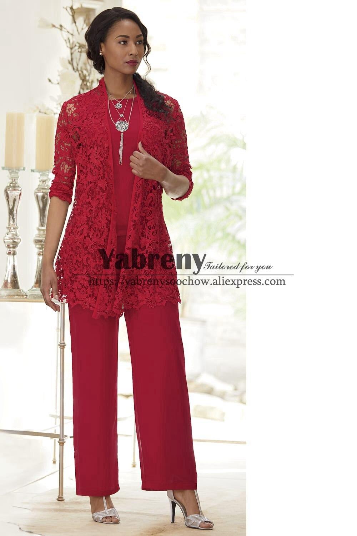 Red Lace Mother Of The Bride Pant Suit Dress 3-PC Elastic Waist Trouser Set