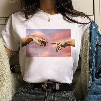 Fashion Vaporwave Michelangelo t shirt women funny Aesthetic David T-Shirt Harajuku The creation of Adam Graphic korean clothes