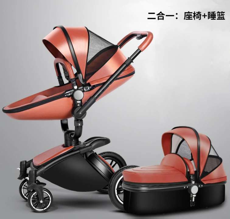 Baby Carriage 360 Degree Rotating baby stroller brand 2 in 1 baby Pram <font><b>3</b></font> in 1 leather carriage Aluminium image