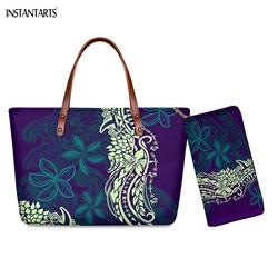 INSTANTARTS Samoan Splendor Tribal Print 2pc Set Women Handbag Shopping Big Capacity Shoulder Bags Female Wallet Tote sac a main