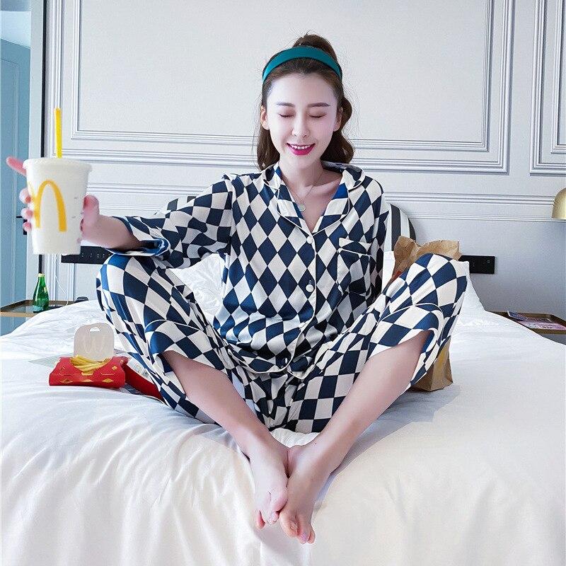 QWEEK Silk Pajamas for Women Sleepwear Pyjama Ladies Long Sleeve Women Pijamas Sets 2020 Fashion Print Satin Women Sleep Lounge
