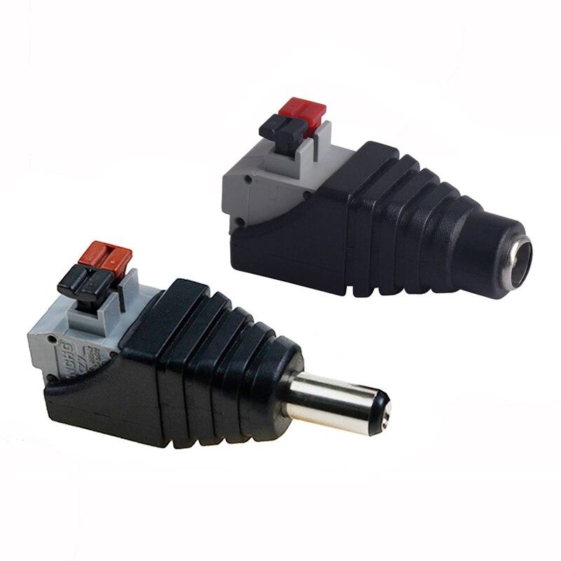 5.5 * Jack de 2.5mm macho e fêmea fio conector terminal para 5V 12V Tira Conduzida Luz DC conector do adaptador de luz SMD5050 SMD2835
