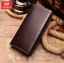 Men Wallet Clutch Genuine Leather Wallet Male Organizer Cell Phone Clutch Bag Long Coin Purse  ASB037