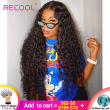 Recool Wig Human-Hair-Wigs Lace-Frontal Water-Wave Density Curly Pre-Plucked Brazilian