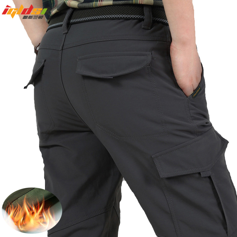 Men Tactical Military Pants Winter Thicken Fleece Warm Cotton Combat Bomber Working Shark Skin Trousers SoftShell Cargo Pants