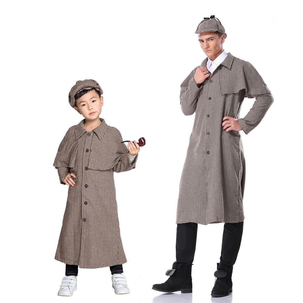 Victorian Detective Kit Kids Fancy Dress Sherlock Holmes Boys Girls Costume Set