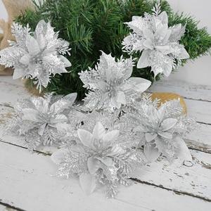 5pcs Christmas Artificial Flowers Glitter Fake Flowers Christmas Tree Ornaments New Year Xmas Navidad Natal Noel Decor 2021