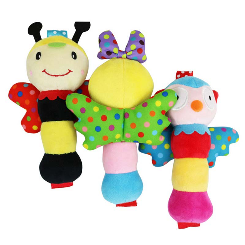 Baby Cute Hand Grasp Plush Rattle Cartoon Stick Wings Handbell Insect Bee Appease Stuffed Toy Intelligent Kids Gifts
