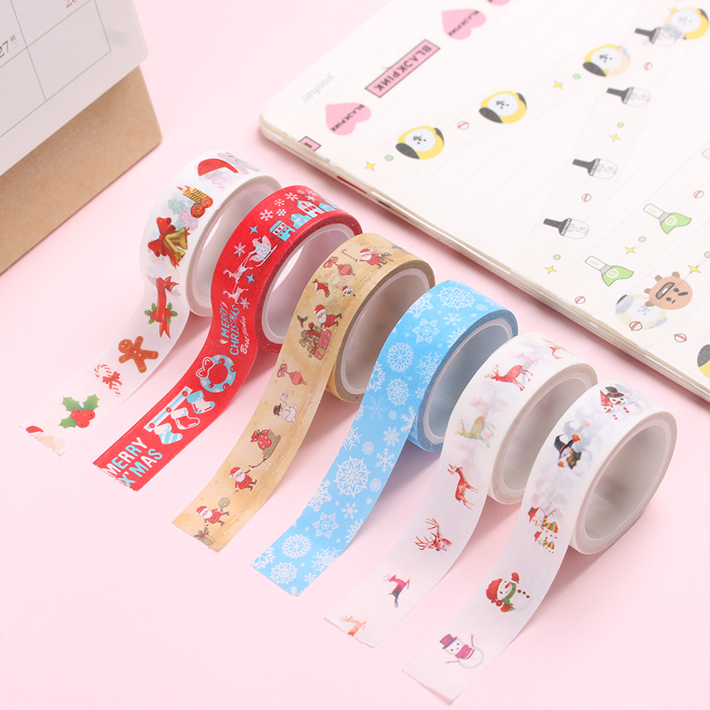 Christmas Tree Snow Deer Masking Tape Scrapbooking Adhesive Tapes Stationery Photo Album Decor New Year Gifts Packing Tape