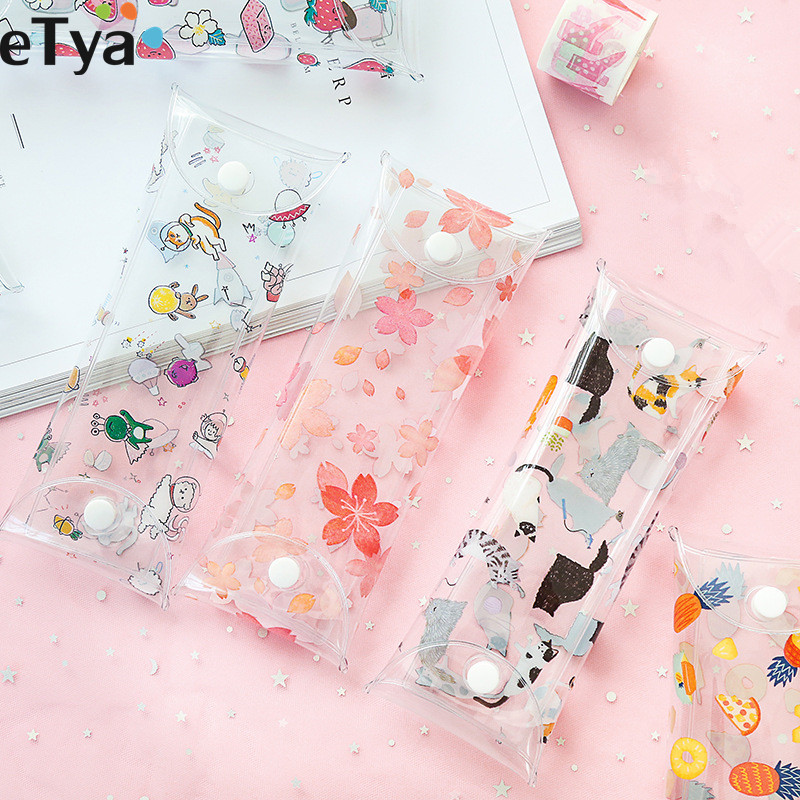 ETya Cartoon Fruit Eyewear Bag PVC Women Glasses Eyeglass Pouch Case Multifunction Student Pencil Cosmetic Brush Holder Box