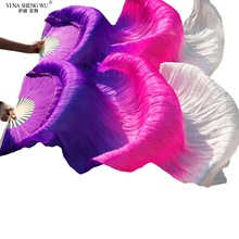 Imitation Silk Fan 1pair Children Adults  Hand Made Colorful Silk Bamboo Flame Belly Dance Dancer Practice Long Fan Props