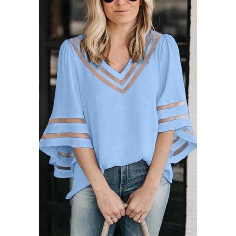 Women Chiffon Tops Fashion Loose Half Sleeve Mesh Top Cool   Shirts   Casual Lady V-Neck   Blouse   Women