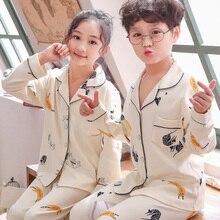Spring Girls Pajamas Suit Cartoon Cardigan Children Clothing Set Cotton Baby Pijamas Kids Pyjamas Sets Autum Child Cothing