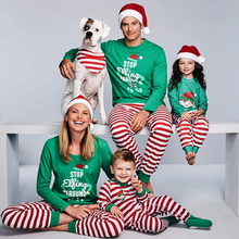 Family Christmas Pajamas Set Family Matching Clothes Adult Kids Pajamas set Baby Romper Xmas STOP Elfing Family Sleepwear