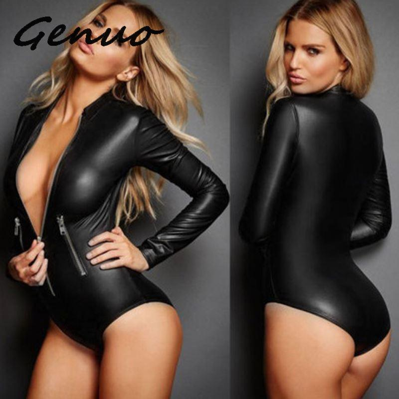 Women <font><b>Sexy</b></font> Black Bodycon Bodysuit Zipper PU <font><b>Leather</b></font> Jumpsuit Ladies Slim Long Sleeves Bodysuits Rompers Body Mujer Plus Size <font><b>4XL</b></font> image