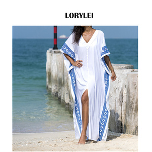 2020 Kaftan Beach Cover up Summer Women Beachwear Cotton Tunic Oversize Bikini Cover-ups Robe de Plage Sarong Beach Tunic #Q887
