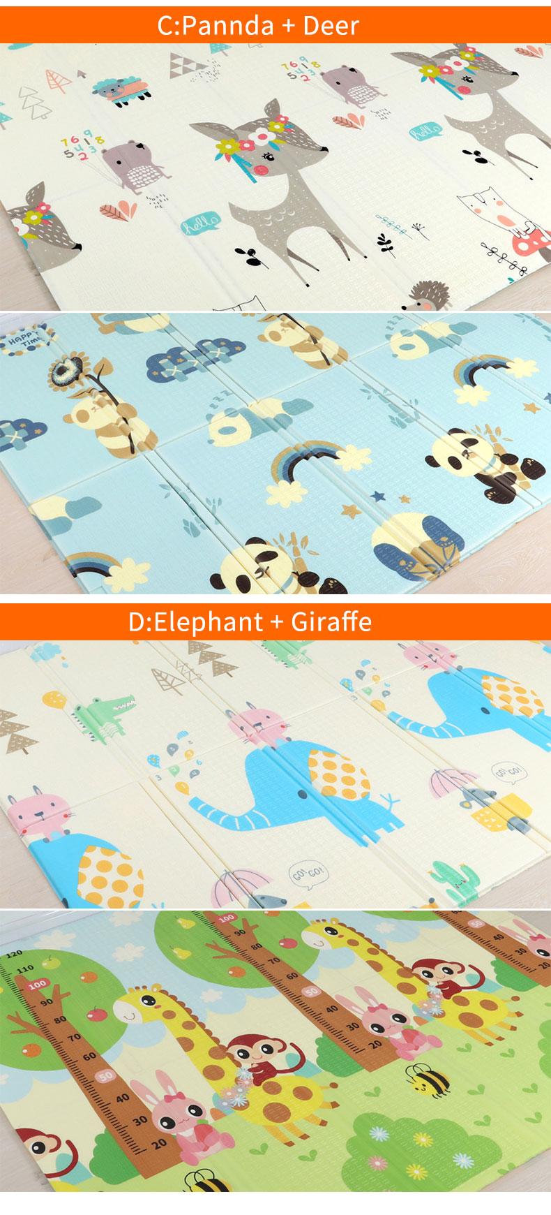 H2bdc815ae48349f183ec81167a31f160o 180X200CM Baby Mat 1CM Thickness Cartoon XPE Kid Play Mat Foldable Anti-skid Carpet Children Game Mat