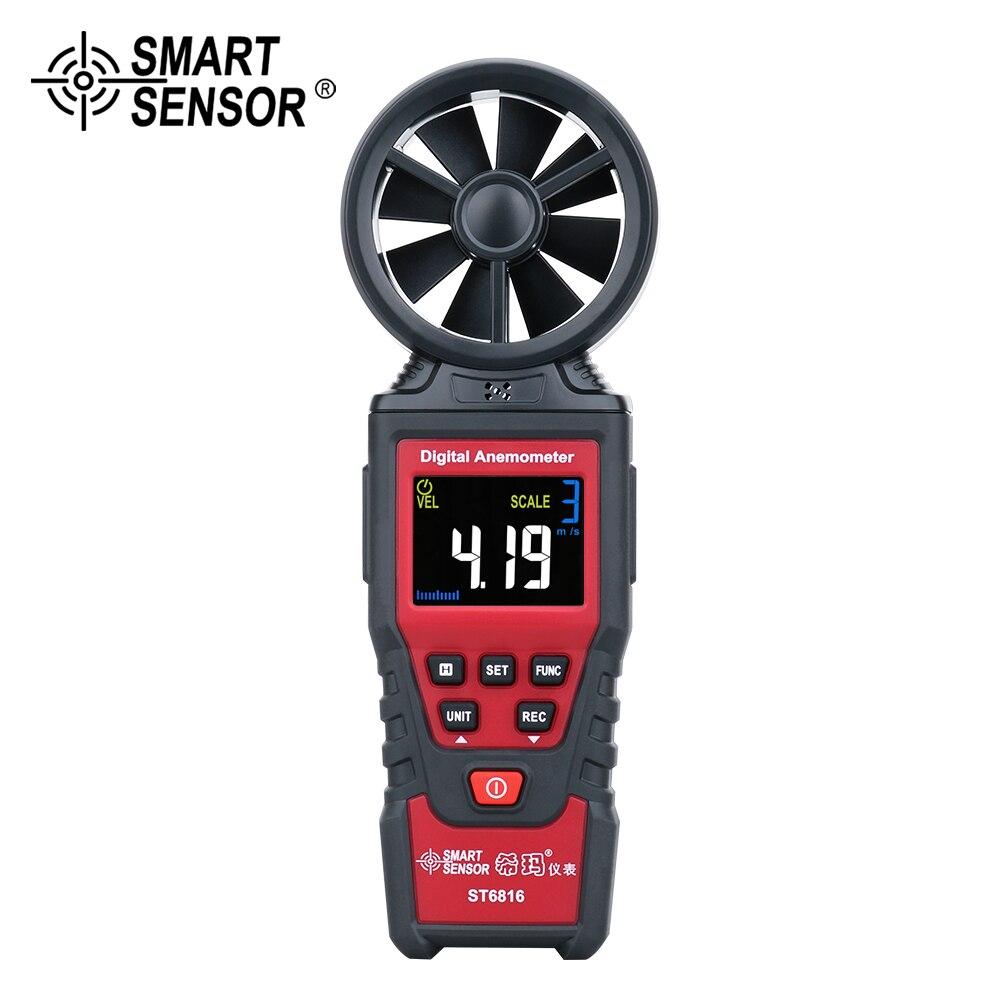 Цифровой анемометр, цветной термометр с ЖК-дисплеем, скорость воздуха, скорость ветра, измеритель скорости потока воздуха, ветромер, сигнал...