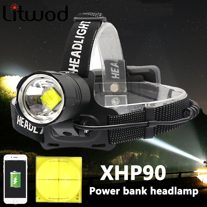 Z40 8000 Lumen XHP90 Led Headlamp Fishing Camping Headlight High Power Lantern Head Lamp Zoomable USB Torches Flashlight 18650