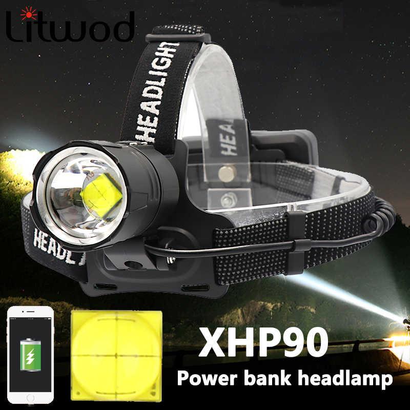 Z40 8000 lumen xhp90 led farol de pesca acampamento farol alta potência lanterna cabeça lâmpada zoomable usb tochas lanterna 18650