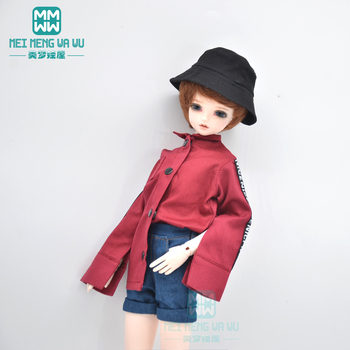 Clothes for doll fits 1/4 43cm BJD doll clothes Men and women wear wild shirts and denim shorts image