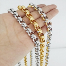 8mm Wide Trendy 316L Stainless Steel Silver/Gold Customized Round Rolo Link Chain Mens Womens Jewelry Necklace Or Bracelet 7-40