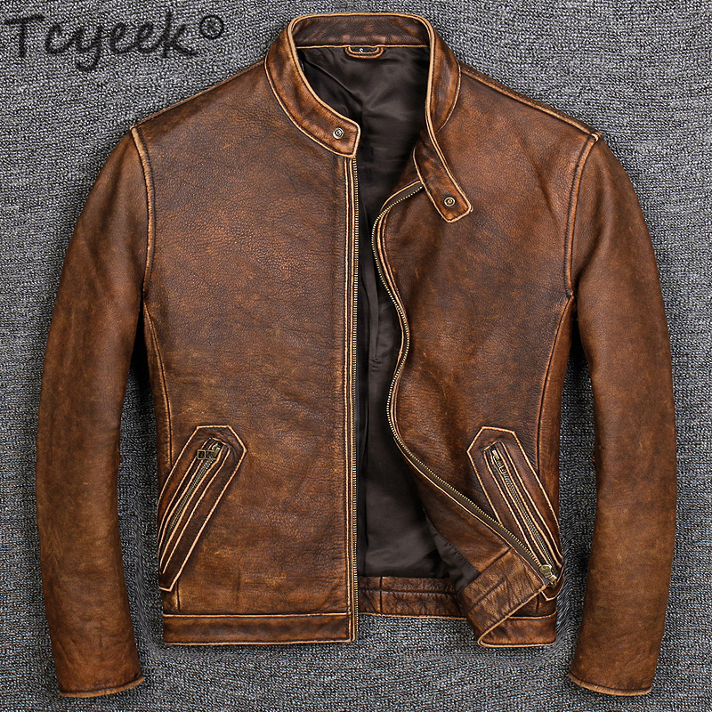 Tcyeek 100% Real Leather Coat Men Autumn Winter Clothes 2019 Streetwear Genuine Cow Leather Jacket Mens Fit Moto Biker Coats 681