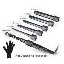 New 6 In 1 Ceramic Hair Curler Set Roller Pro Curling Iron Wand Interchangeable Barrel Tourmaline Machine