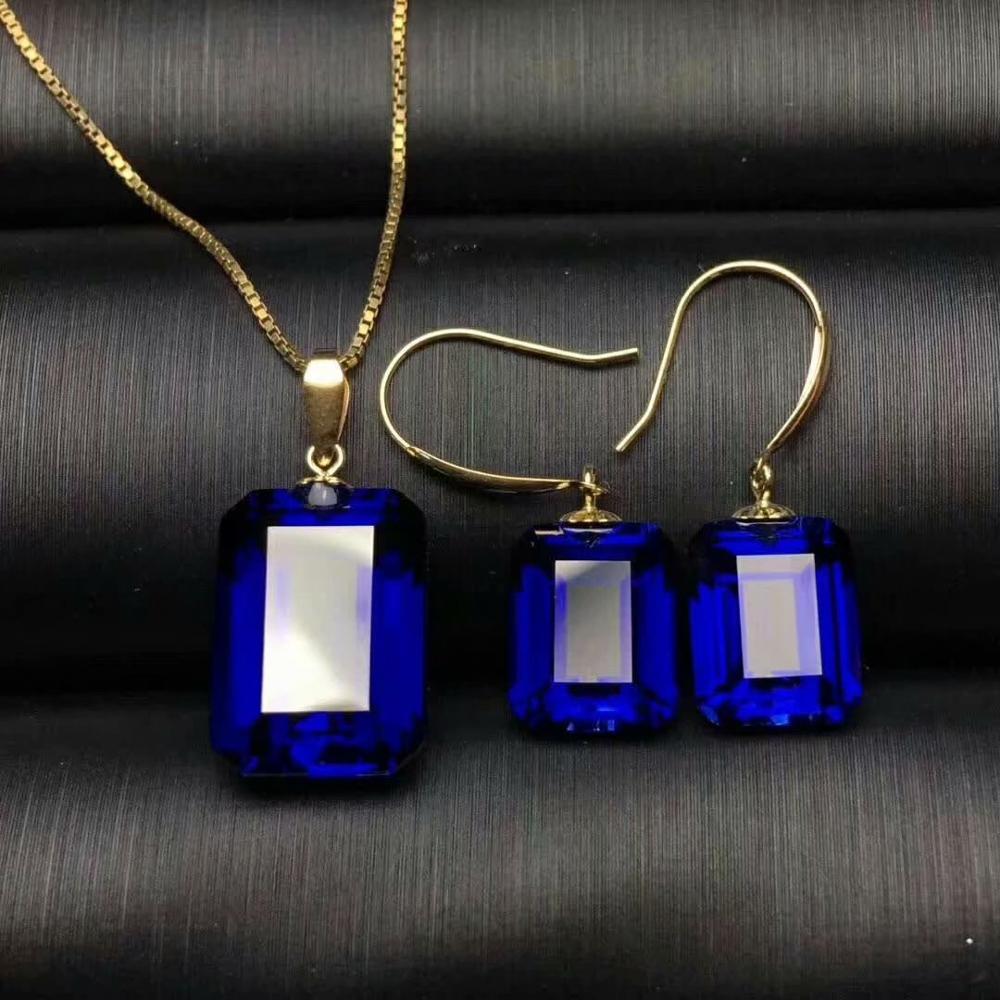 Shilovem 18k or jaune piézoélectricité saphir boucles d'oreilles pendentifs bijoux fins femmes mariage nouveau cadeau mtz08101499l