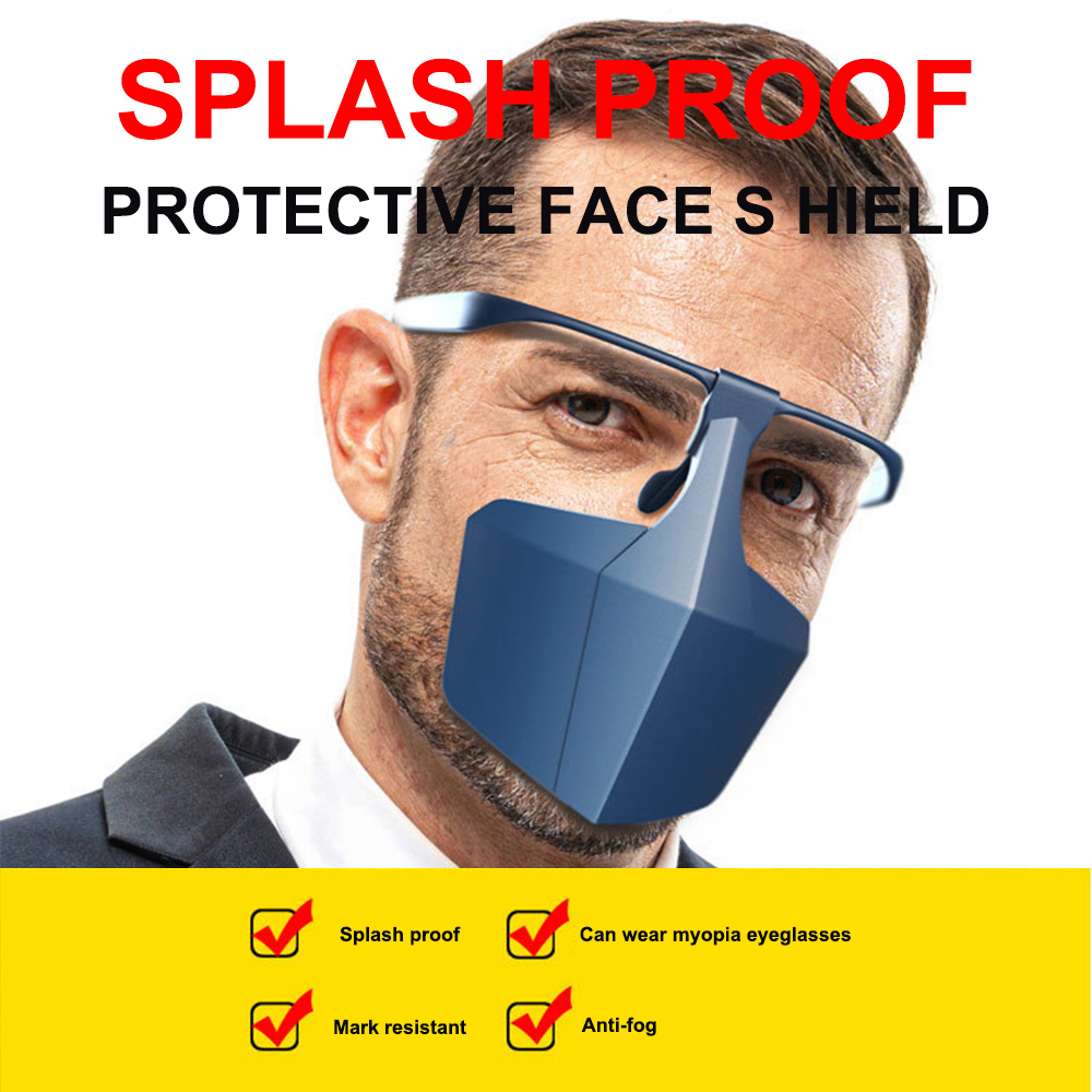 New 1PC Glasses Type Face Mask Protective Face Shield Safety  Anti Droplet Splash Dust-proof Half Cover Plastic Mask Washable