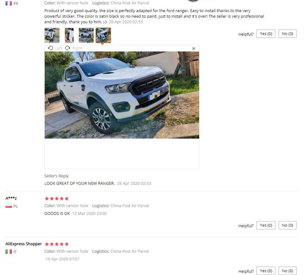 /> Guardabarros derecha pintada en color que deseas para Ford Ranger TKE 11