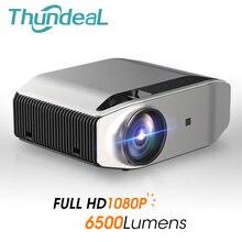 Thundeal nativo 1080p projetor hd completo led proyector 3d sem fio wi fi multitela beamer 6500 lumen de cinema em casa logotipo