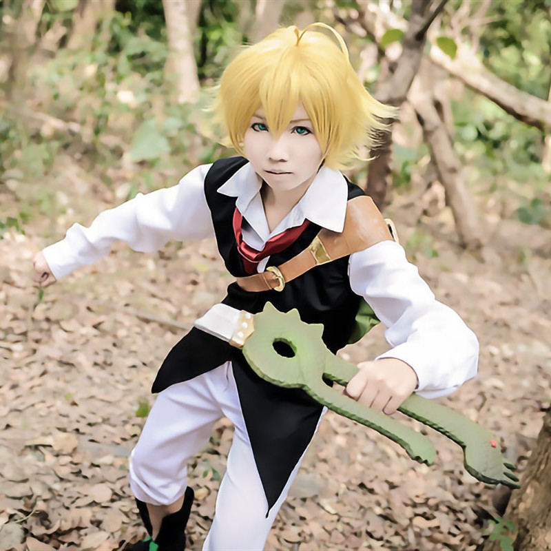 Image 3 - The Seven Deadly Sins Anime Meliodas Dragons Sin of Wrath Cosplay Costume  Uniforms Shirt + Vest + Pants + Tie WigAnime Costumes   -