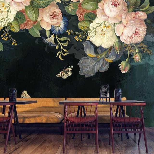 Custom 3D Behang Zijde Doek Waterdicht Canvas Muurschilderingen Muurschildering Pastorale Bloemen Bloem Olieverf Zwart Muurschildering Behang