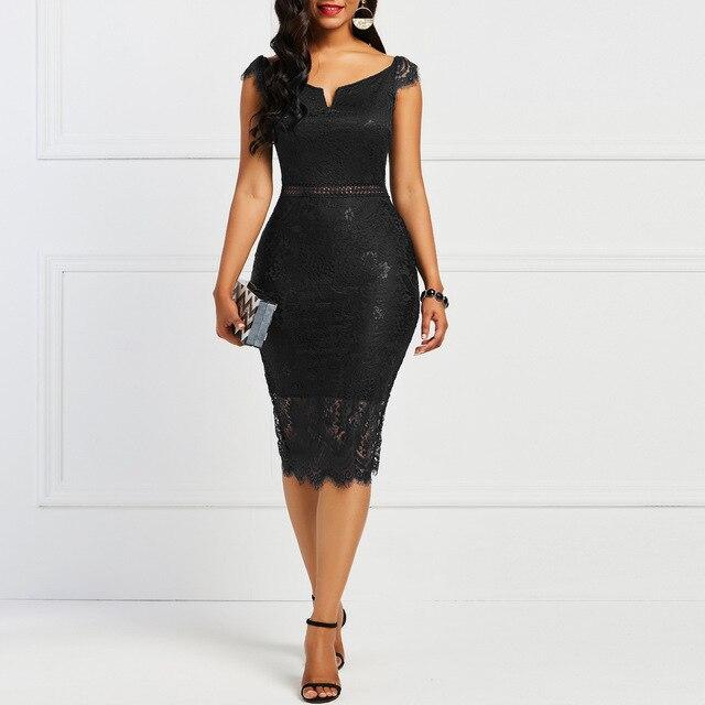 Женское винтажное кружевное платье с V-образным вырезом 4